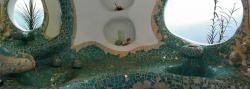 lavamanos con formas orgánicas y acabado en mosaico